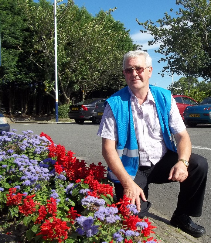 Uttoxeter volunteer Mick tends the station gardens