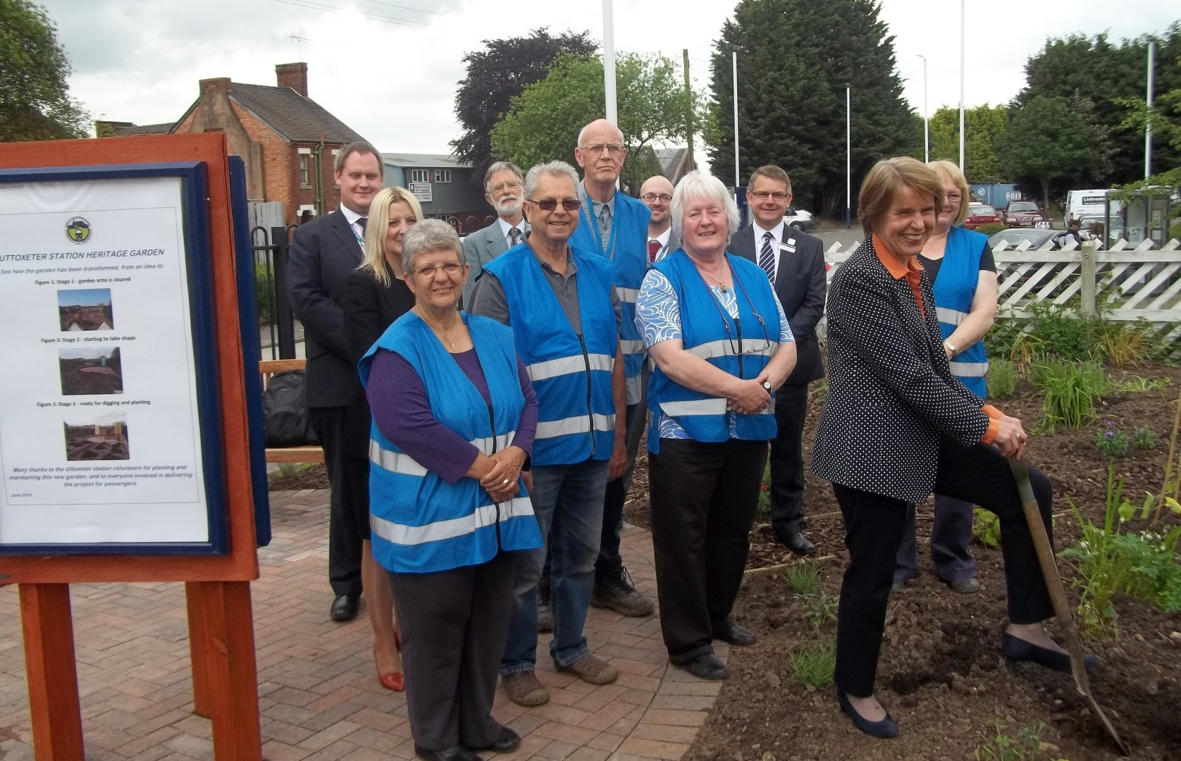 Anna Walker, ORR, Uttoxeter station volunteers and partners at the opening of Station Heritage Garden