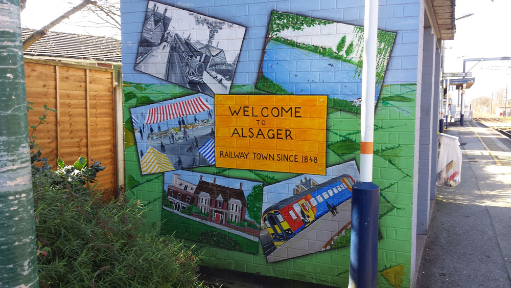 Welcoming passengers to Alsager station