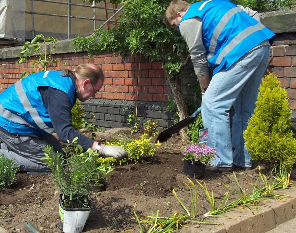 Longton volunteers plant up a new garden
