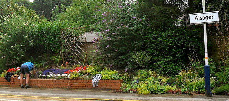 Part of Alsager station's garden